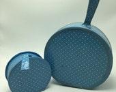 Vintage Round Blue Polka Dot Childrens Luggage Set 2 piece