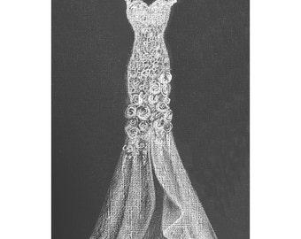 Custom Wedding Gown Sketch- White Pencil