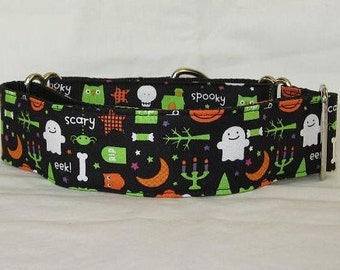 Halloween Dog Collar - 1.5 or 2 Inch - candy dessert ghost spooky scary graveyard green black orange RIP