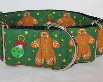 Gingerbread Man in Green Martingale Dog Collar - 2 Inch - fun holiday Christmas winter ornaments stars greyhound galgo whippet
