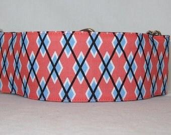 Argyle Blue Martingale Collar - 1.5 or 2 Inch - melon orange white black handsome geometric pattern greyhound
