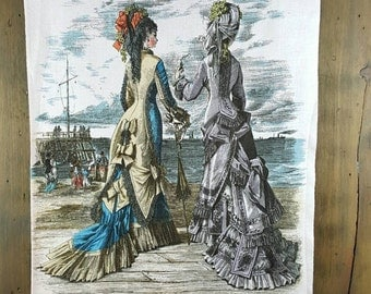 Vintage Linen Kitchen Towel, Victorian Women Looking at Ships from the Shore, Pub Dish Tea Towel