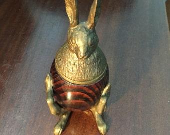 Arthur Court Brass & Wood Rabbit Inkwell/Trinket Box/Arthur Court Designs/Brass and Coconut Wood Rabbit Container/ By Gatormom13