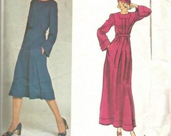 1970s Jean Muir Vogue Designer Original Evening Day Bell Sleeves Pleated Skirt Jewel Neck Vogue 1304 Size 12 Bust 34 Vintage Sewing Pattern