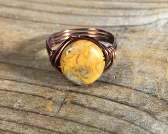 Natural Crazy Agate gemstone, antique copper wire wrapped ring - size 10.25 , 10 1/4 - earthy - men women unisex