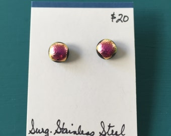 Earrings - pink dichroic glass dots on posts