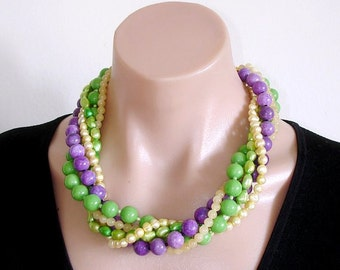 Ashira Yellow and Green Fresh Water Pearls, Purple Sugilite, Green Jade Convertible Necklace