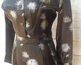 Alfred Shaheen 50s wiggle dress shirtwaist gorgeous black satin textile perfection pin up bombshell VLV Hawaiian designer