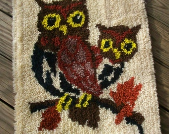 Vintage Rug Art Handmade Latch Hook Rug Owl Art Owl Rug Latch Hook Owl Latch Hook Rug Wall Art Shag Rug Art Picture