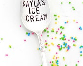 Personalized Ice Cream Spoon. CUSTOM TABLESPOON. Hand Stamped Vintage Spoons by Sycamore Hill. As seen on The Today Show, Kathie Lee & Hoda