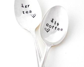 His Tea, Her Coffee Teaspoons. The ORIGINAL Hand Stamped Vintage Coffee Spoons™ by Sycamore Hill. His and Hers Spoons. You Choose Beverage.