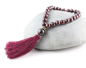 Garnet Mala Bracelet, Wrist Mala, Tassel Bracelet, Stretch Bracelet, Garnet Mala, Black Tourmaline, Sandalwood Mala, Garnet Bracelet, Garnet