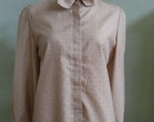 "Vintage 70's Manor Park by Cos Cob Long Sleeved Beige Blouse with Small Geometric Print & 2 Tie Collar Bust 42"" Waist 40"""