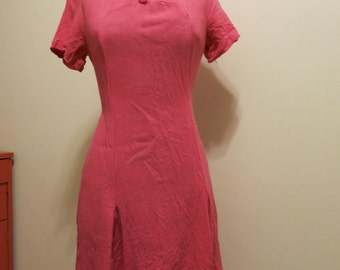 Dress MOD hot pink linen 1960s with buttons Charlie Brown M