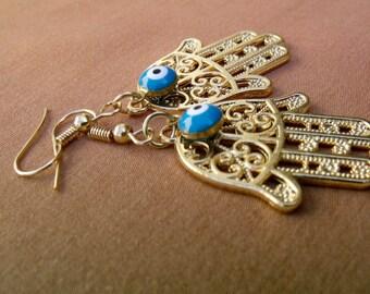 Evil Eye Earrings, Hamsa Earrings, Hamsa Hand Evil Eye Jewelry for Protection, Protection Jewelry