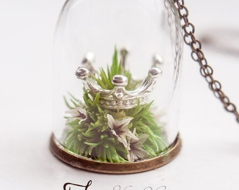 Forgotten Crown silver version, miniature Terrarium jewelry. Flower necklace, glass globe necklace, crown Necklace, fairytale gift for women