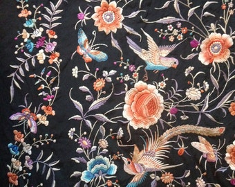 antique chinese silk densely embroidered shawl flowers birds butterflies fringe circa 1930