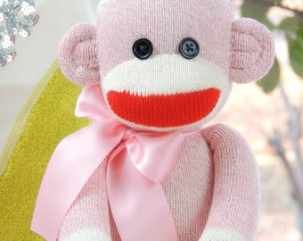 Pink Sock Monkey Doll Childs Toy
