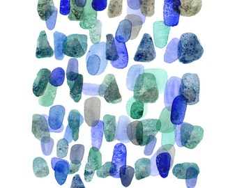 Sea Rocks watercolor print abstract Watercolor painting emerald green Cobalt  blue