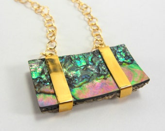 Abalone Shell Pendant Necklace with 18'' Goldfill Adjustable Chain.