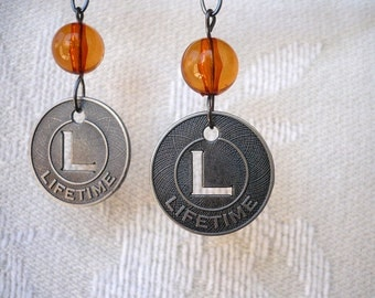 Lifetime Coins with Amber Bead Earrings