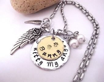 Kitty Memorial Jewelry, Pet Memorial Jewelry, Cat Memorial, Hand Stamped Jewelry, Kitty Memorial Necklace, My Kitty My Angel