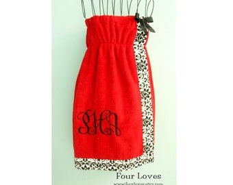 Fitted Monogrammed Spa Wrap Dress...with or without straps...Four Loves