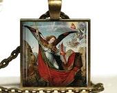 Christian Archangel St Michael Necklace Slaying Satan Handmade Religious Michael Glass Tile Pendant Unisex Gift