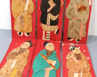6 Antique Asian Women and Men Silk & Paper Ornaments, Sewing Embellishments, Fiber Art Collage, Chinese Decor