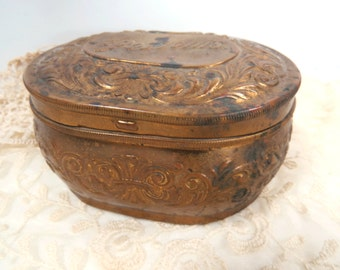 Antique Pozzoni's Brass Powder, Jewelry, Keepsake Box - 1912 Art Nouveau - Hinged Lid - Jewelry Tin
