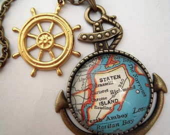Staten island etsy custom map jewelry staten island new york you pick location vintage map anchor negle Images