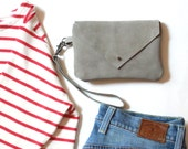 Sage Green Suede Leather Zip Pouch - Envelope Clutch - Mini Handbag - Sage Green Pouch - Small Clutch Bag for Women