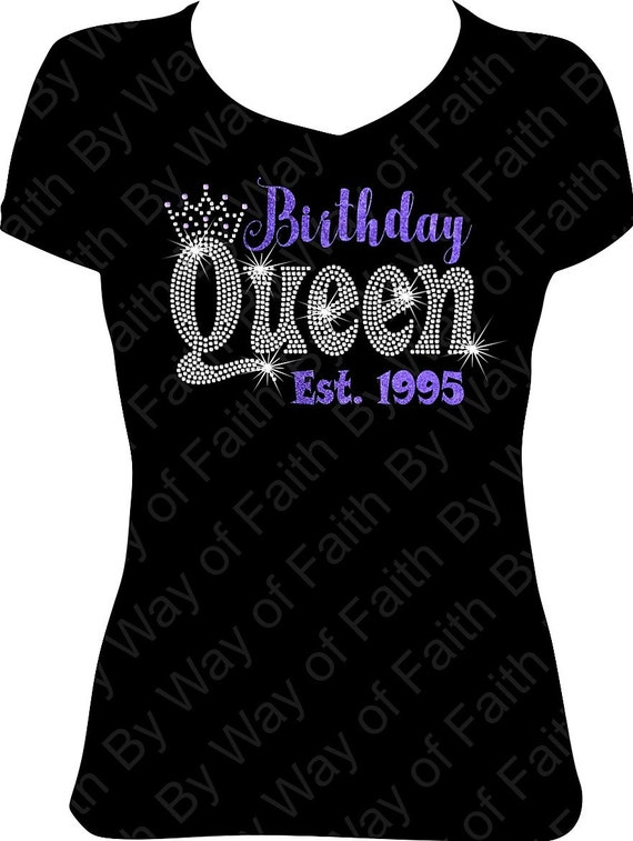 Birthday Queen Bling Rhinestone Glitter T Shirt Birthday