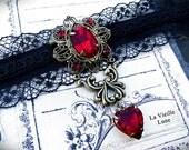 Ruby Victorian Brooch, Gothic Brooch Pin, Black Velvet Victorian Choker