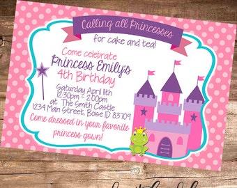 PRINCESS TEA PARTY Invitation, Girl's Birthday Party - Printable Invitation - 4x6 Digital File