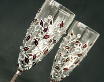 Champagne glasses, Wedding Glasses, Fall Wedding, Autumn Leaves Glasses, Hand Painted, Set of 2