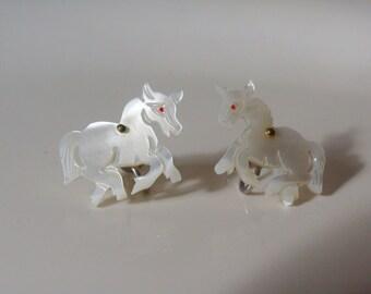 Vintage Screw Back Earrings - Mother of Pearl Horses - Carved Horse Earrings