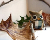 Hubert the Owl - 5 Inch Plush Owl Made From Salvage and Re-Purposed Fabric