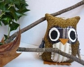 Phillip the Owl - 5 Inch Stuffed Owl Made From Salvage and Re-Purposed Fabric