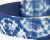 Indigo Shibori Dog Collar