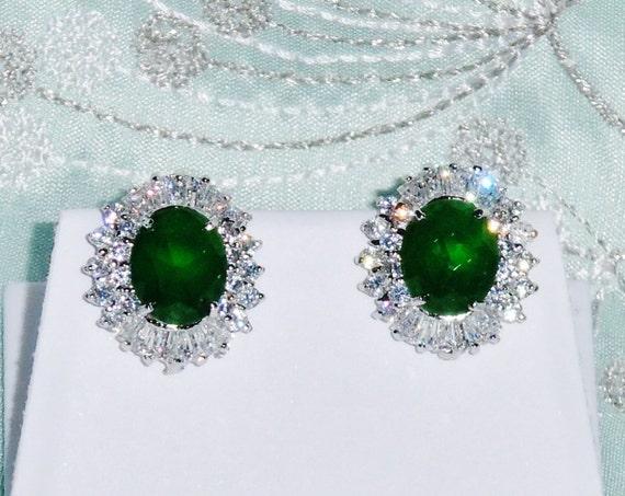 48 TCW Natural 10 x 12mm Chrome Green Tourmaline gemstones, 14kt White gold Stud Earrings