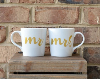 Mr and Mrs mugs, Bride and Groom gift, unique coffee mugs, wedding mugs, His and Hers wedding set of TWO, pinterest wedding