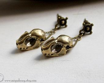 Miyu Decay Brass Bat Skull Earrings