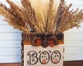 Autumn BOO Basket, Rustic Home Decor