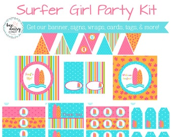 Girls Surfer Birthday, Surfer Baby Shower, Surfer Birthday Decorations, Surfer Baby Shower Decorations, Surfer Party Decorations BeeAndDaisy