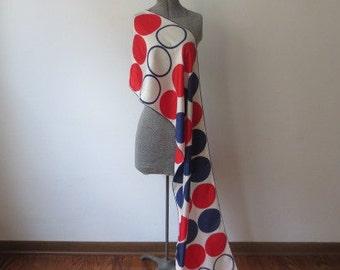 XL 60s Mod Pop Echo Red, White & Blue Circles Scarf, HUGE!