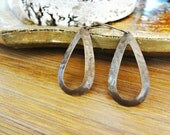 Hoop Earrings. Tear Drop Earrings. Hammered Brass Jewelry. Textured Hoops. Simple Hoop Earrings