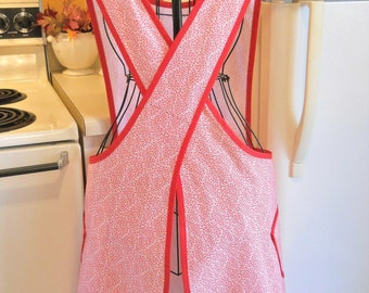 Old Fashioned Full apron with a Crossover Back in Red MADE TO ORDER