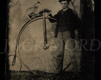 One of a Kind Tintype Photo Man with Penny Farthing Bicycle & Dog