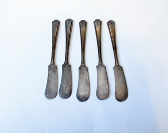 Vintage Butter Knives Set of 5 Pure Silver